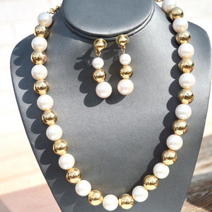 Chunky Faux Pearl Gold Ball Necklace Earring Set